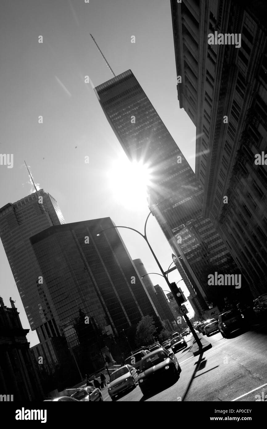 Wide street looking into the sun. International Quarter, Montreal, Canada - Stock Image