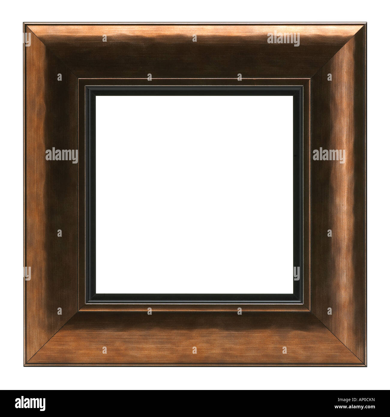 SQUARE GOLD AND DARK WOOD PICTURE FRAME ON WHITE BACKGROUND Stock ...
