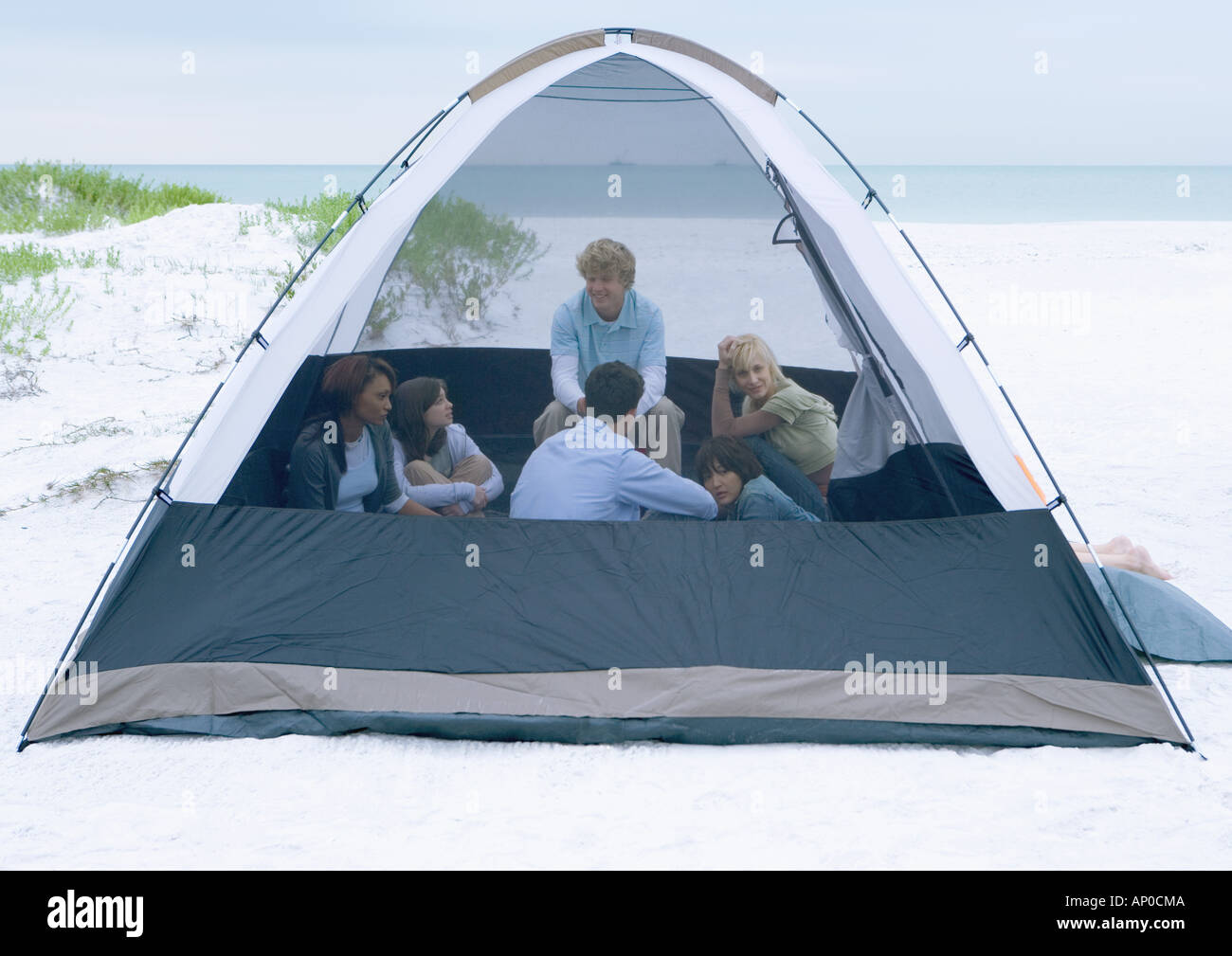 Group of young adults in tent on beach - Stock Image
