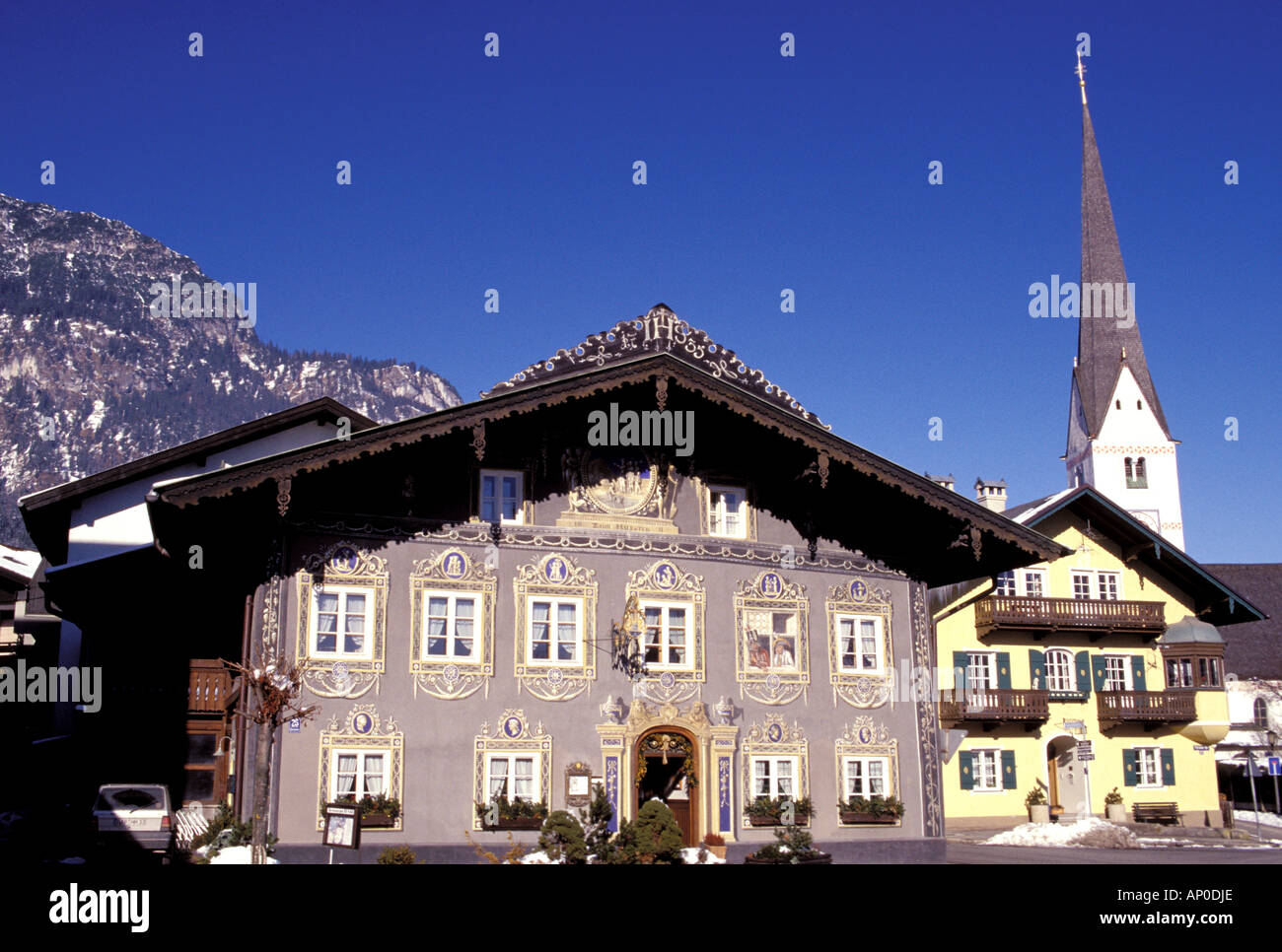 Europe, Germany, Bavaria, Garmisch-Partenkirchen. Ristorante Husar - Stock Image