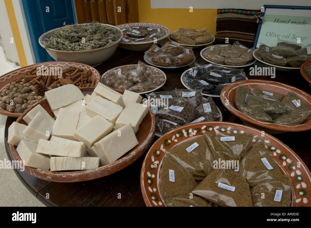 Greece, Karpathos, Olymbos: soap and spices on sale Stock Photo