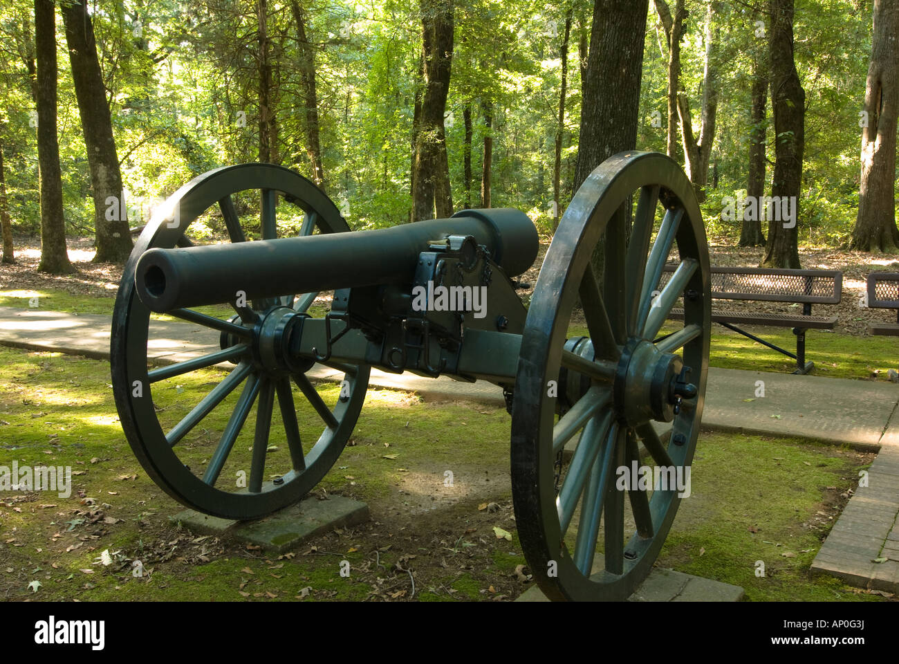 10 pound Parrott rifle at the Civil War era rifle pits at the Arkansas Post National Memorial in the Delta region - Stock Image