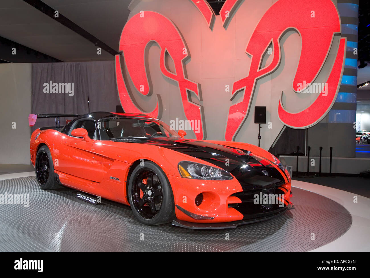 Detroit Michigan The Dodge Viper SRT 10 on display at the North American International Auto Show - Stock Image