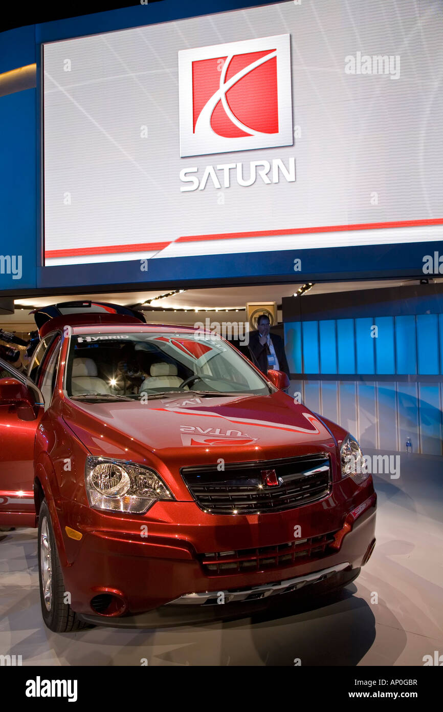 Detroit Michigan The Saturn Vue Green Line Hybrid on display at the North American International Auto Show - Stock Image