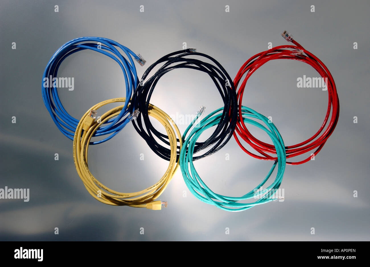 Ethernet cables forming shape of Olympic rings - Stock Image