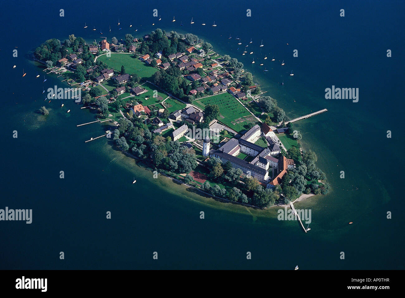 Aerial view of Frauenchiemsee, Chiemsee, Bavaria, Germany Stock Photo