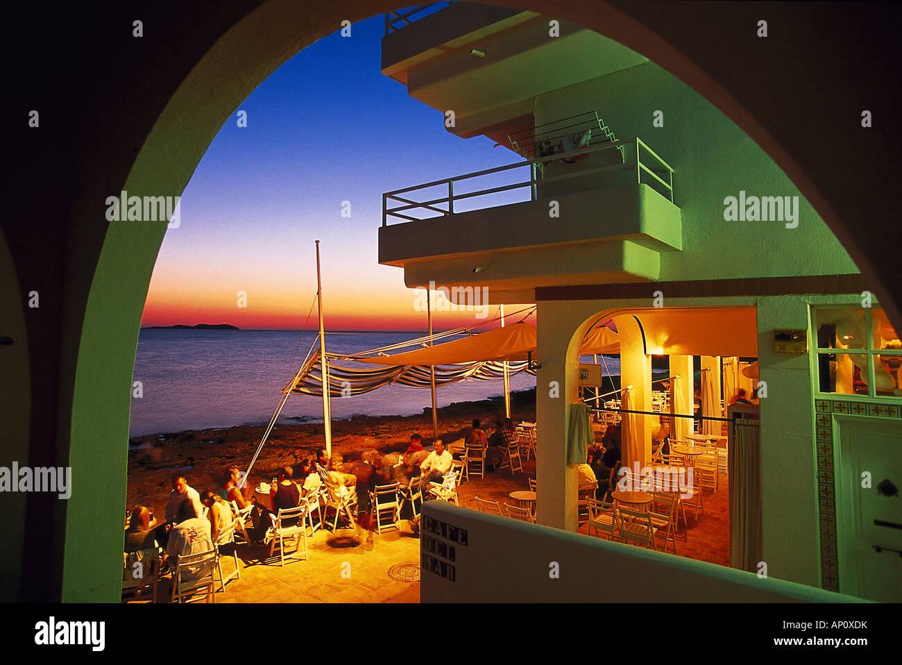 Meeting pooint Café del Mar, Sant Antoni, Ibiza, Baleares, Spain - Stock Image