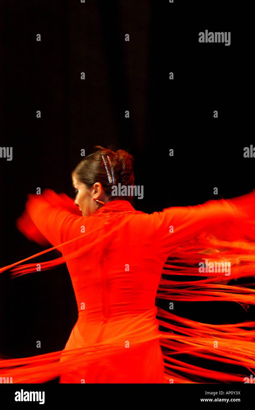 Flamenco dancer, World Flamenco Fair, Seville, Andalusia, Spain - Stock Image