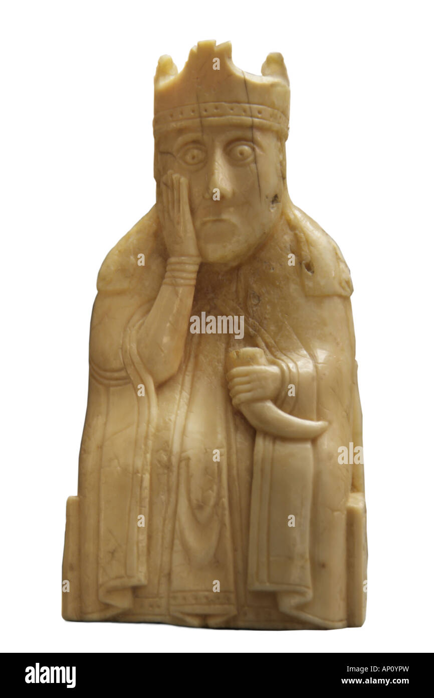chess piece Isle Lewis king ivory fine arts Nordic arts sculpture chess piece Outer Hebrides 12th century walrus - Stock Image