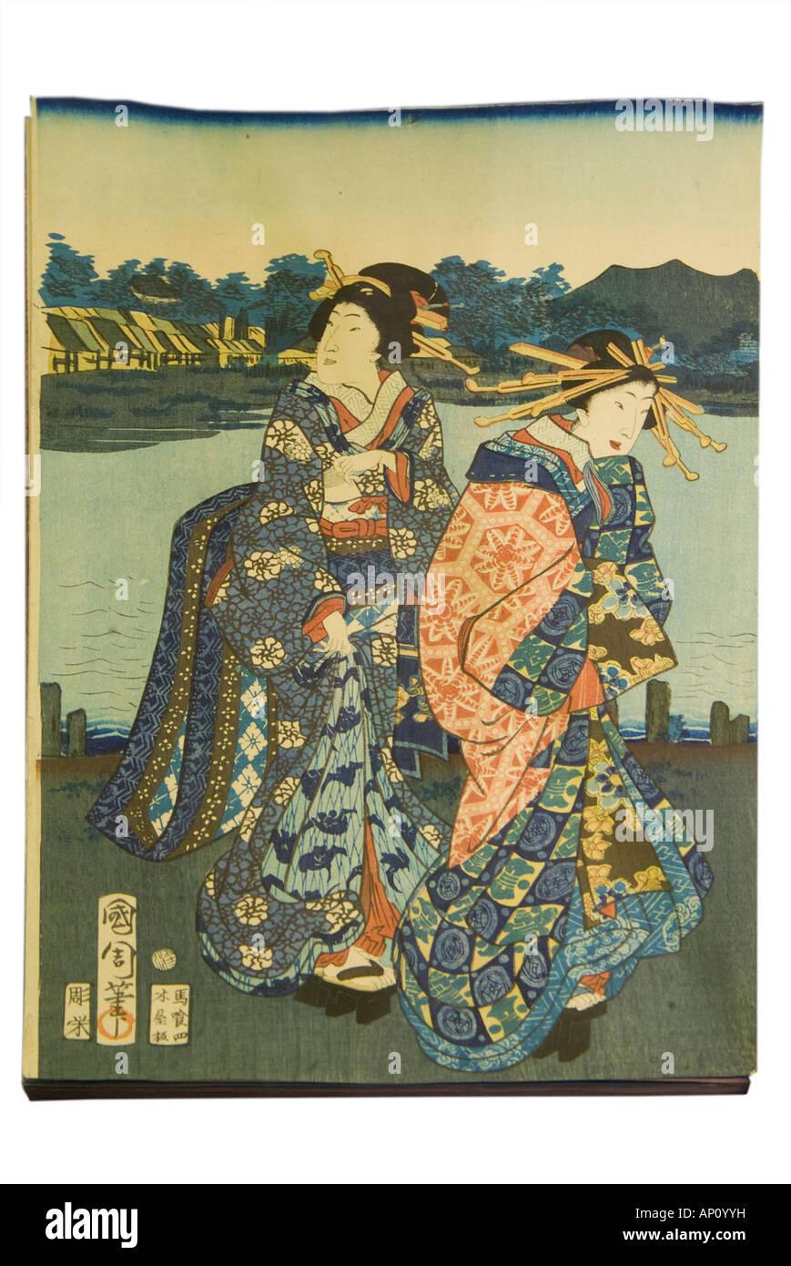 courtesan and young girl on shore of bay one holding sword print courtesans kunichika 1865 - Stock Image