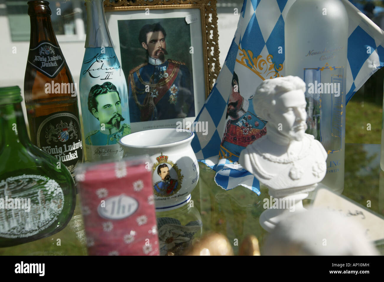 Devotional objects, King Ludwig, King Ludwig devotional objects, Guesthouse at Wieskirche, Bavaria, Koenig Ludwig - Stock Image