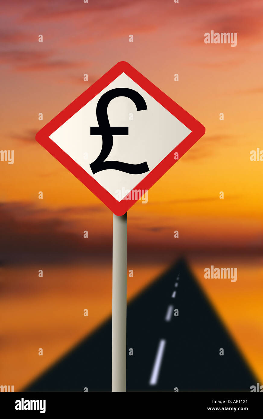 UK road sign with UK Pound symbol with road Road to riches - Stock Image