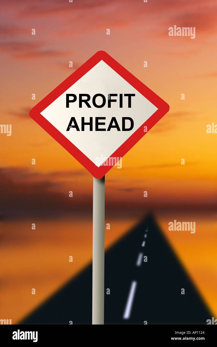 Road and road sign with profit ahead written on it Road to riches - Stock Image