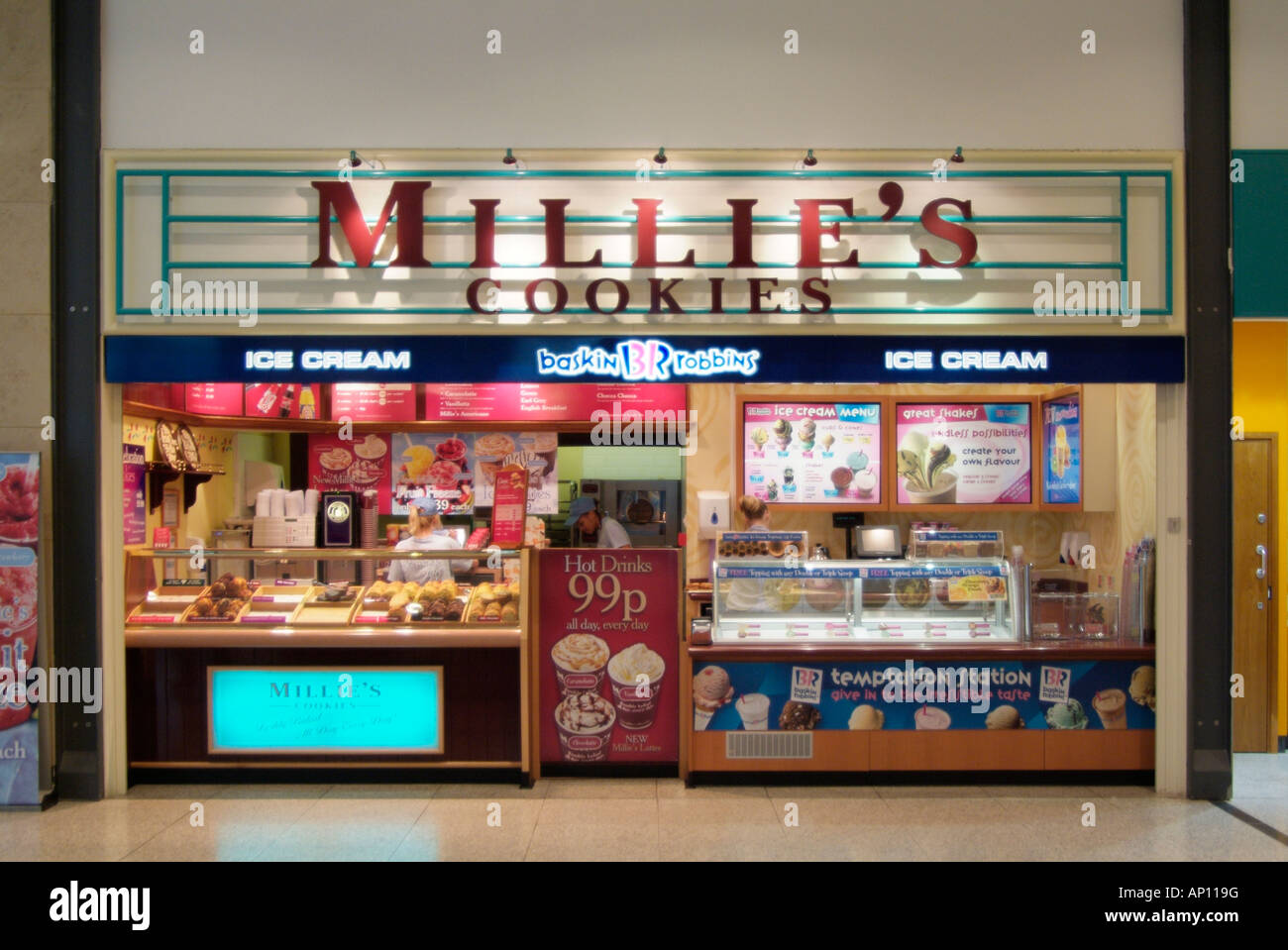 millie's cookies fast food cake pastry ice cream hot cold takeaway snack arndale centre Manchester display mall - Stock Image