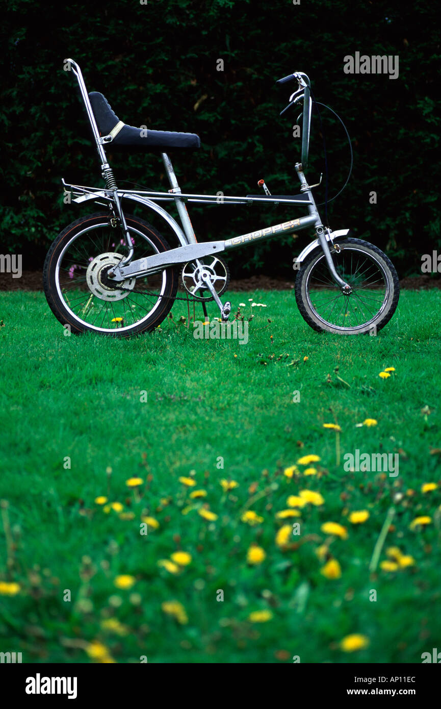 Silver Raleigh Chopper bicycle - Stock Image