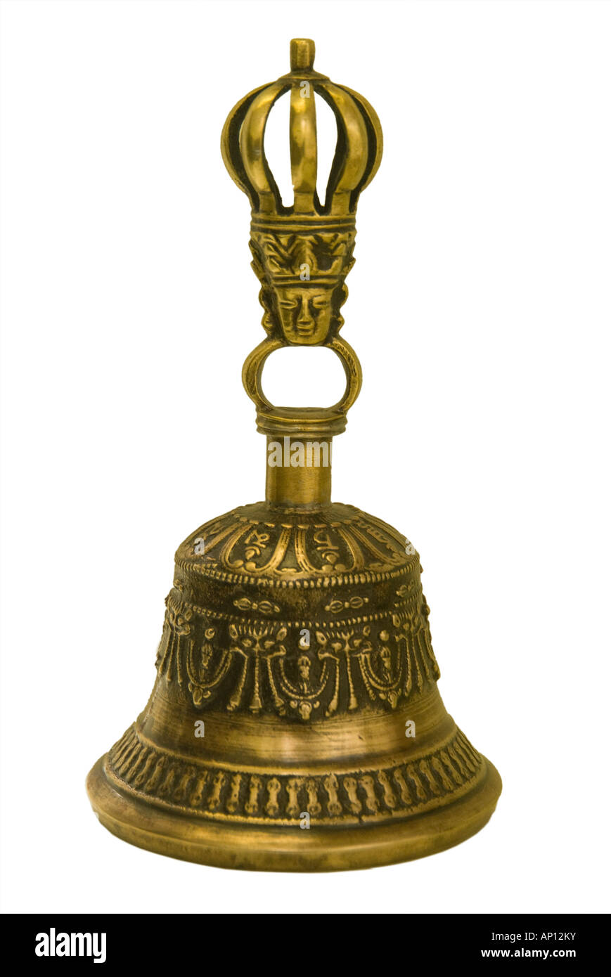 tibetan buddhist bell brass ritual rite music instrument background Artefact antique old  traditional local metal - Stock Image