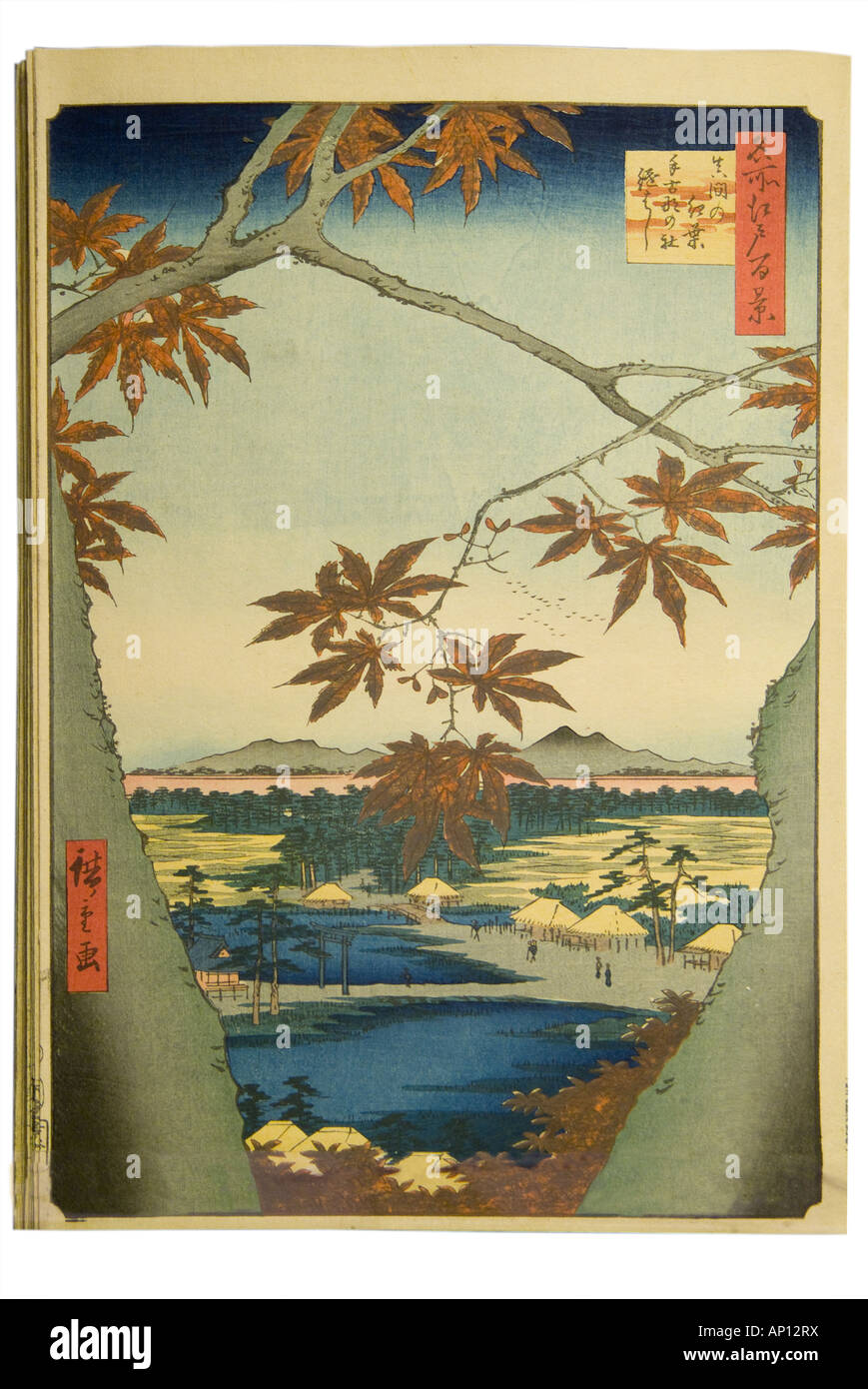 utagawa hiroshige 100 views of edo white - Stock Image