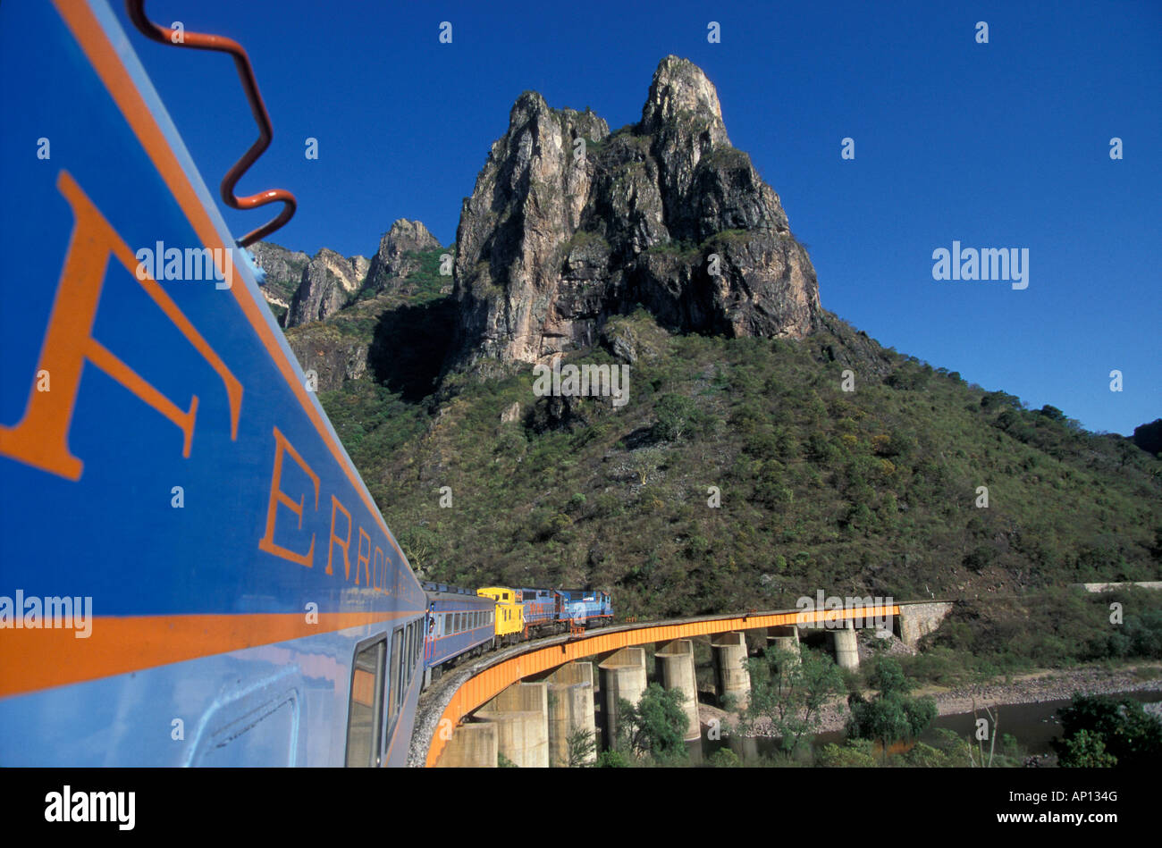Train Line El Pacifico from Chihuahua to Los Mochis, Mexiko - Stock Image