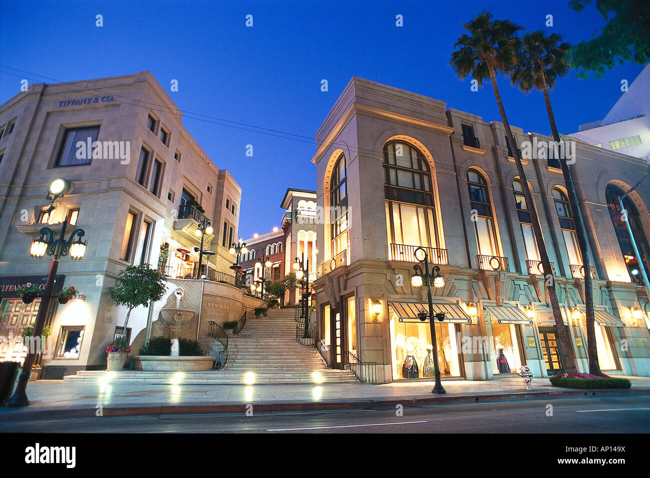 The deserted Wilshire Boulevard at night, Rodeo Drive, Beverly Hills, Los Angeles, USA - Stock Image