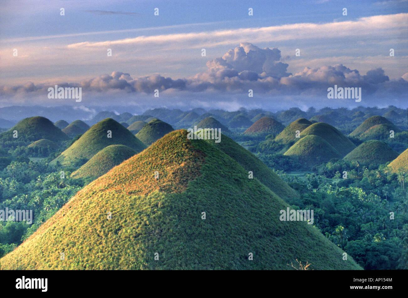 Sunrise, Chocolate Hills, natural wonder, Bohol Island, Philippines - Stock Image
