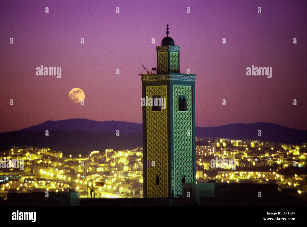 Moonrise over mosque, Fes, Morocco, North Africa - Stock Image