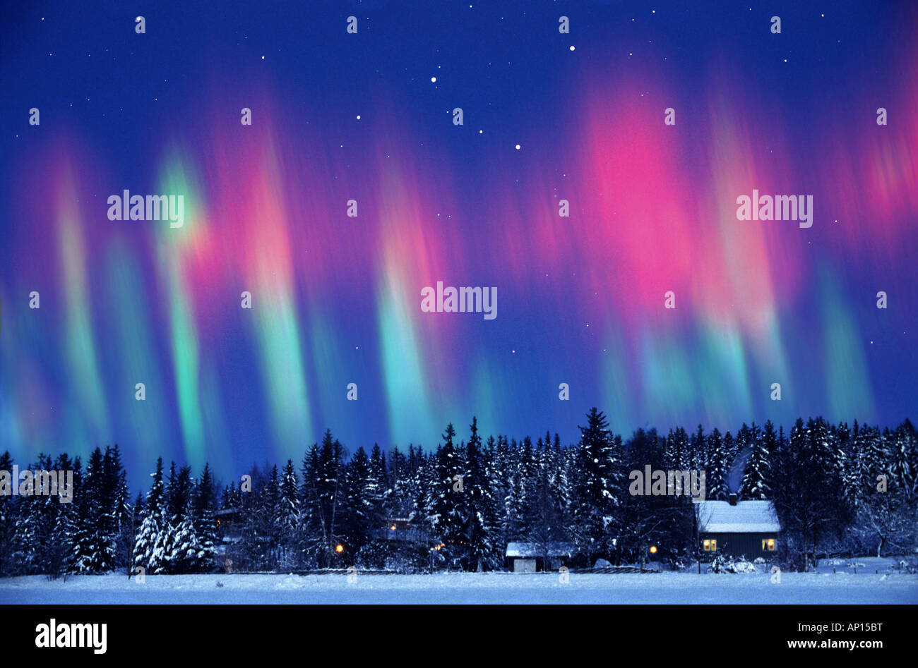 Aurora borealis, Northern Norway, Kautokeino, Lappland, Norway - Stock Image