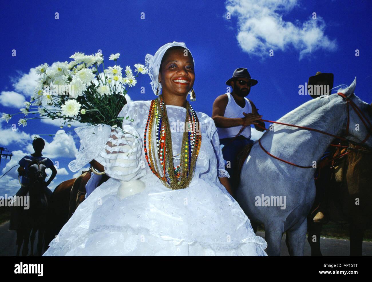 Candomble priestess at carnival, Salvador da Bahia, Brazil, South America - Stock Image