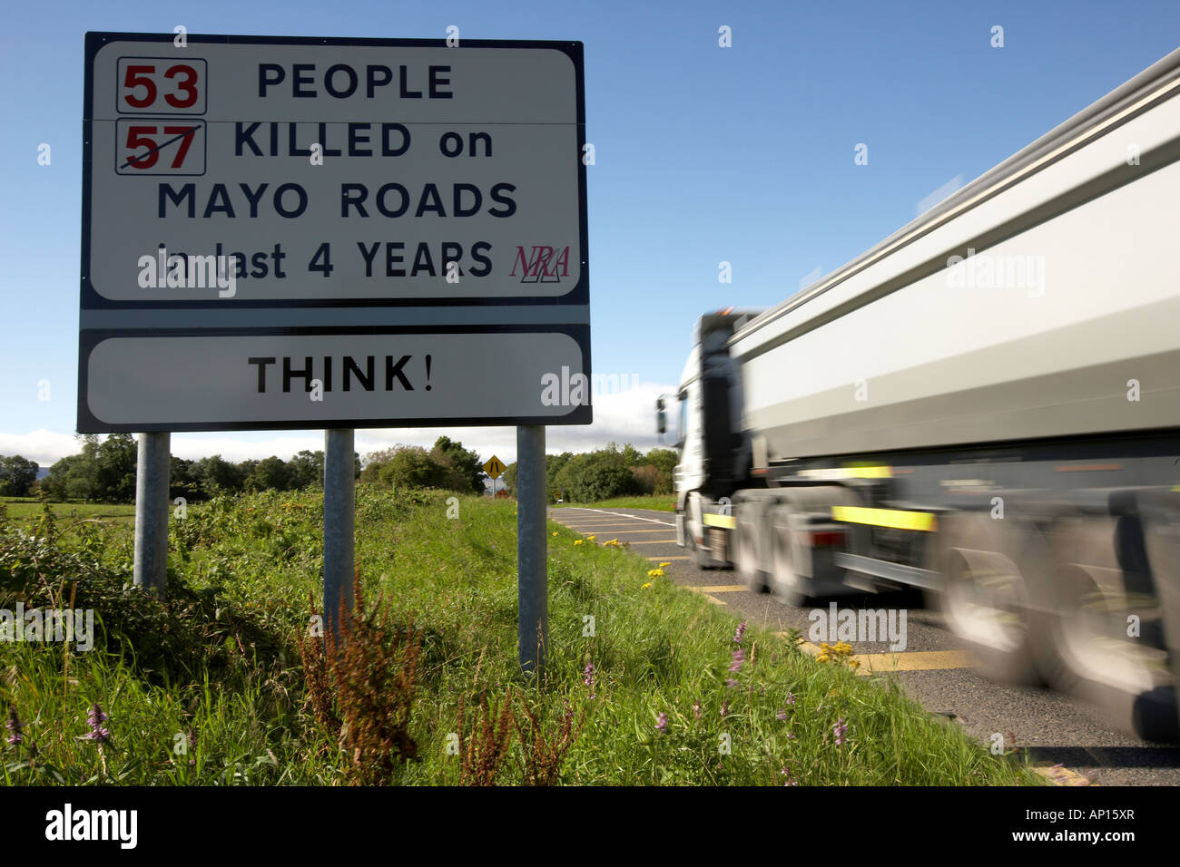 53 57 crossed out people killed on Mayo road in last 4 years sign County Mayo Republic of Ireland Stock Photo