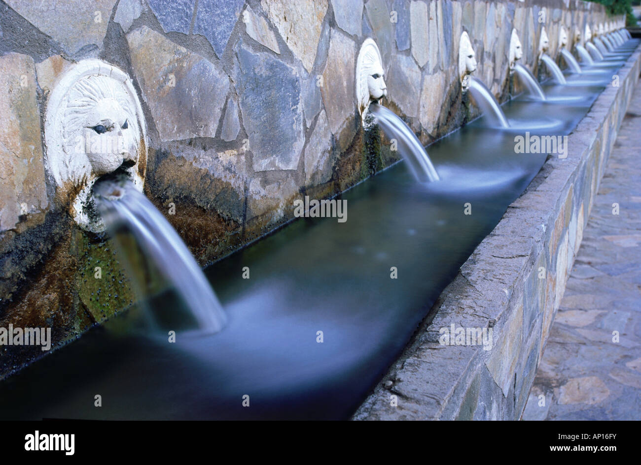 Fountain of the nineteen Waterspitters, Spili, Crete, Greece - Stock Image