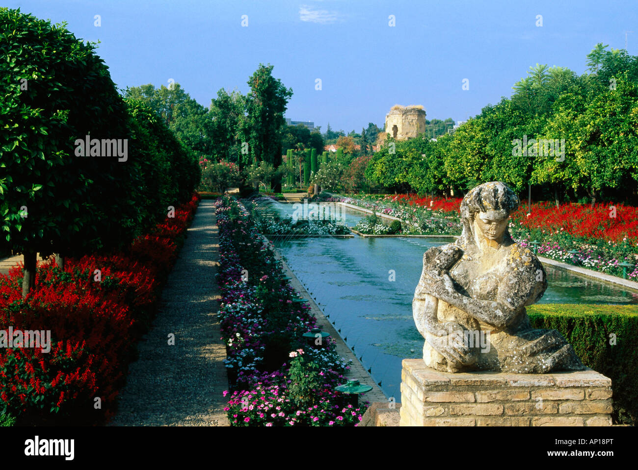 Gardens in the palace of the catholic Monarchs, Alcazar, Cordoba, Andalusia, Spain - Stock Image