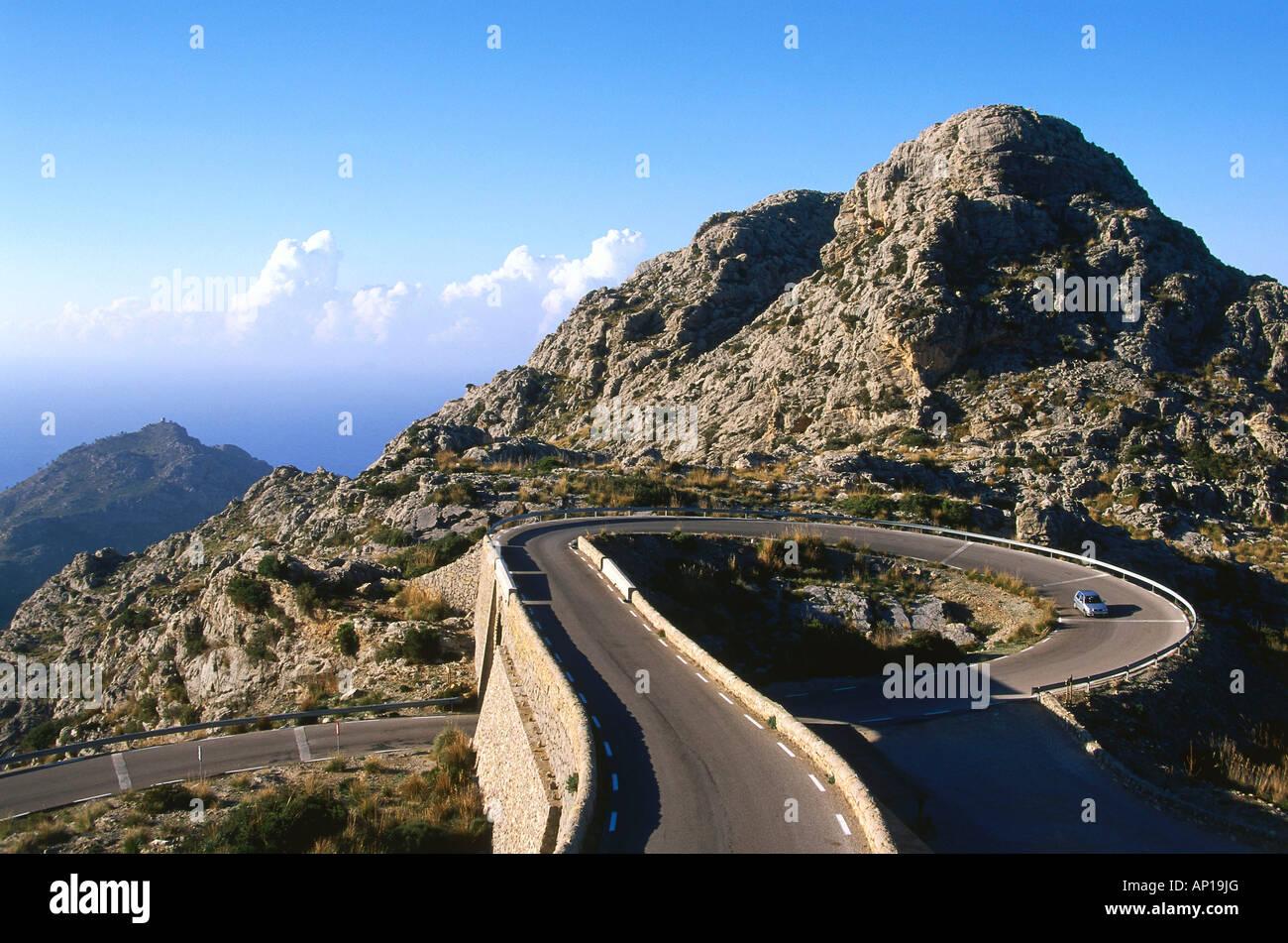 Road to Sa Calobra, known as the tie knot, Serra de Tramuntana, Mallorca, Spain - Stock Image