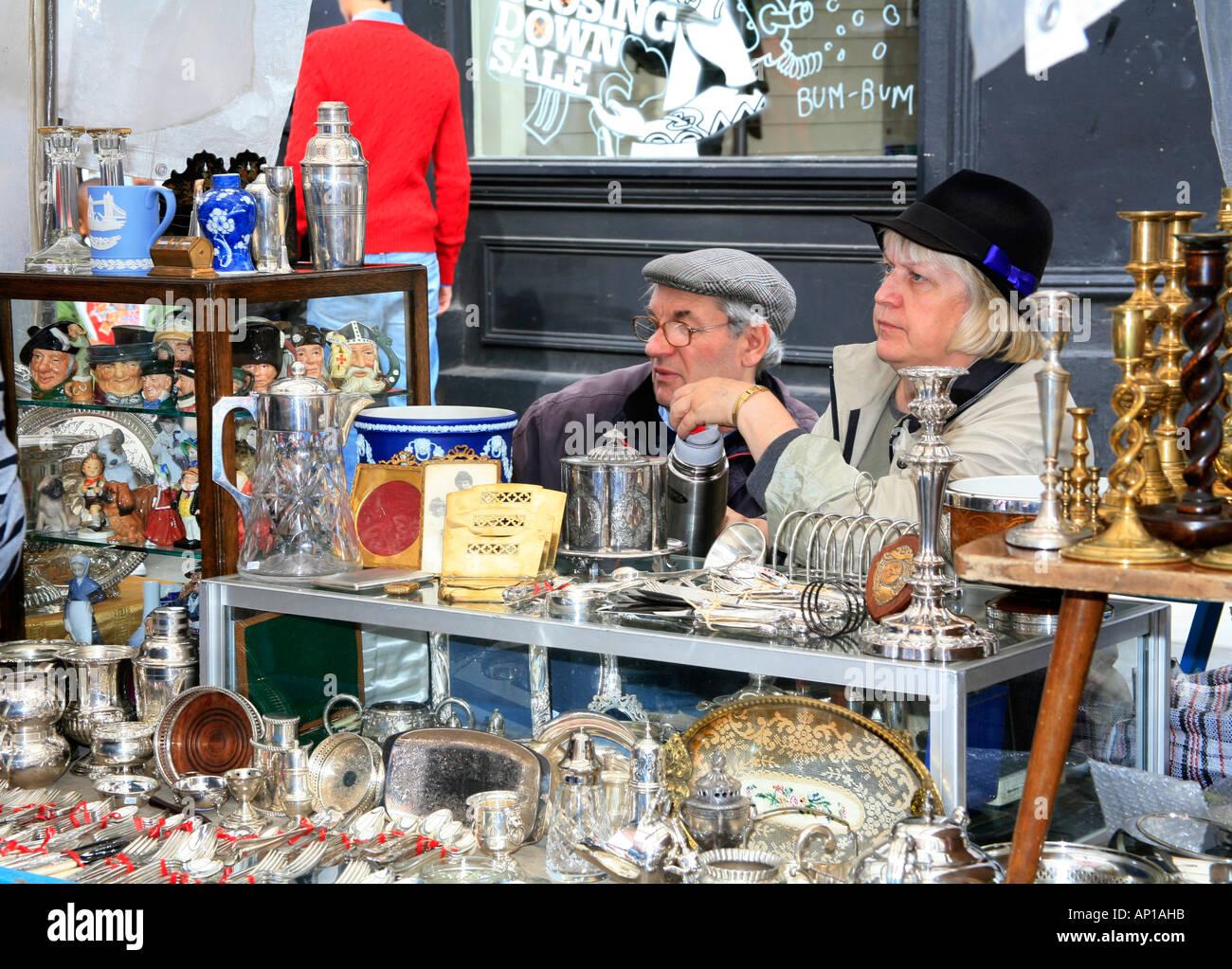 Antique Dealers in the Portobello Road Market in London - Stock Image