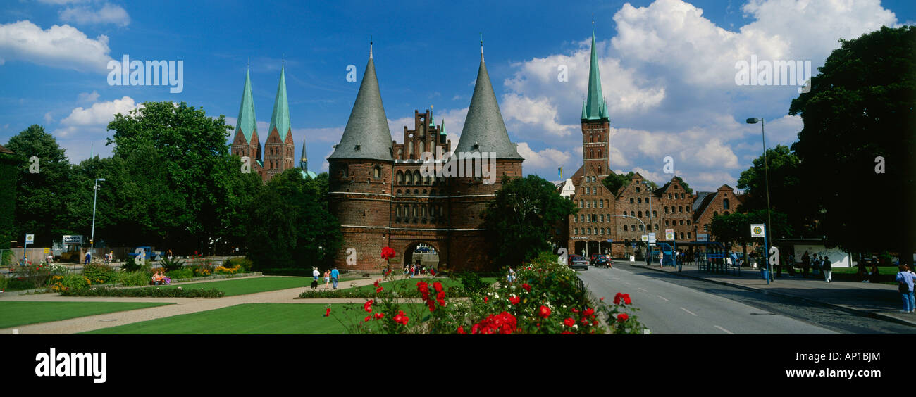 Holsten Gate with Church of Our Lady and St. Petri, Luebeck, Schleswig-Holstein, Germany, Europe - Stock Image
