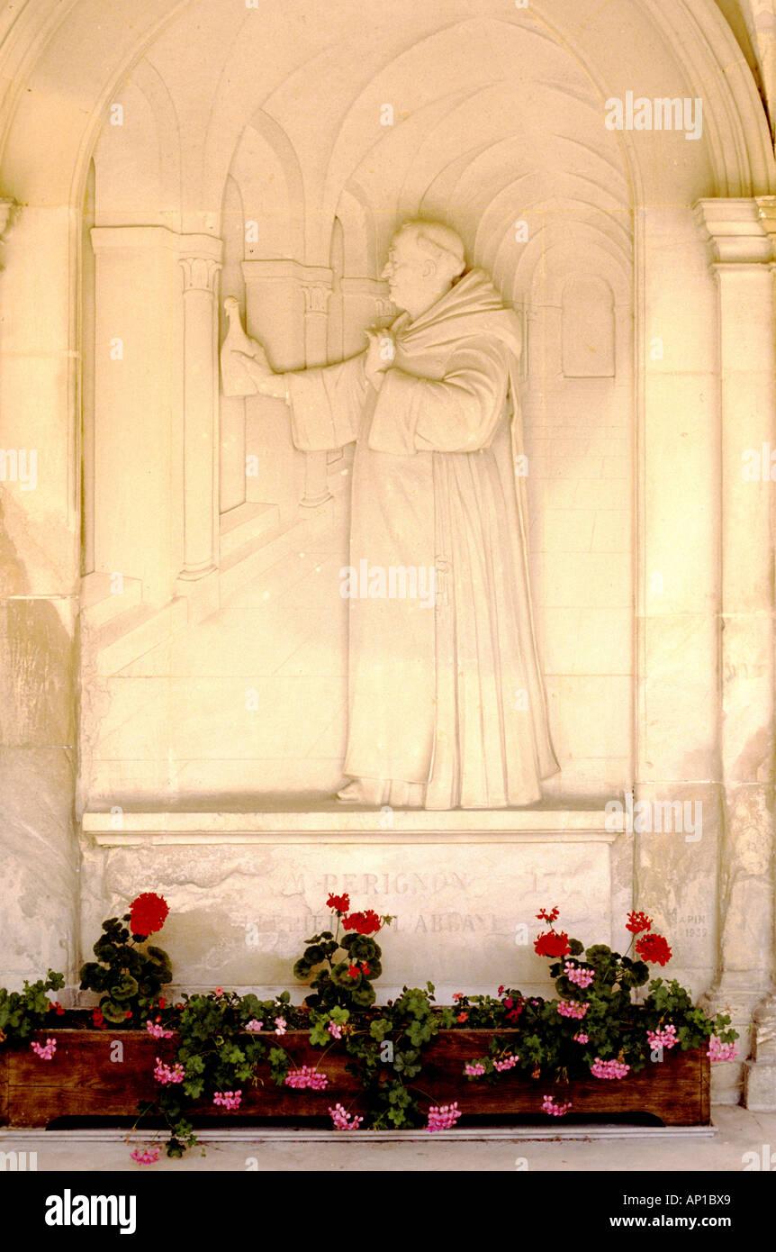 Bas Relief Dom Perignon, Hautvilliers abbey  Champagne region, where friar Dom Perignon discovered champagne - Stock Image
