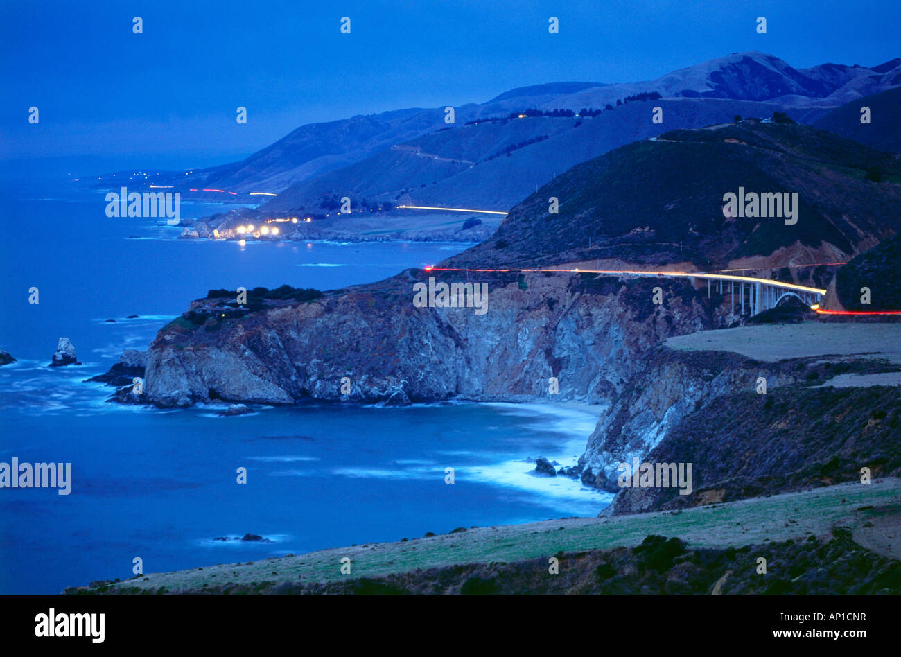 Coastline at Bixitie Bridge near Big Sur, Santa Lucia Range, Highway 1, California, USA - Stock Image