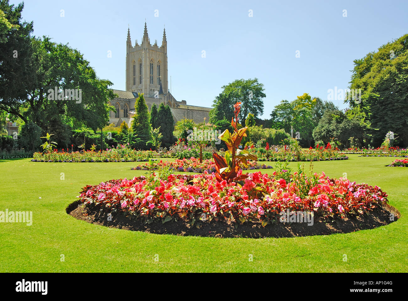Cathedral and gardens, Bury St Edmunds, Suffolk, UK - Stock Image