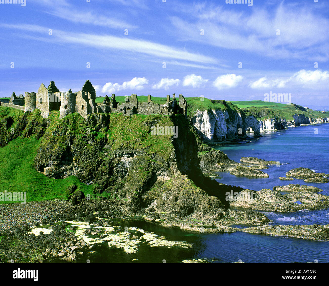 GB - NORTHERN IRELAND: Dunluce Castle - Stock Image