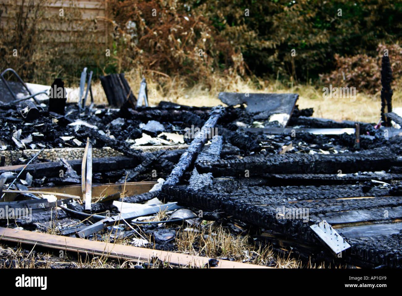 Burned house - Stock Image