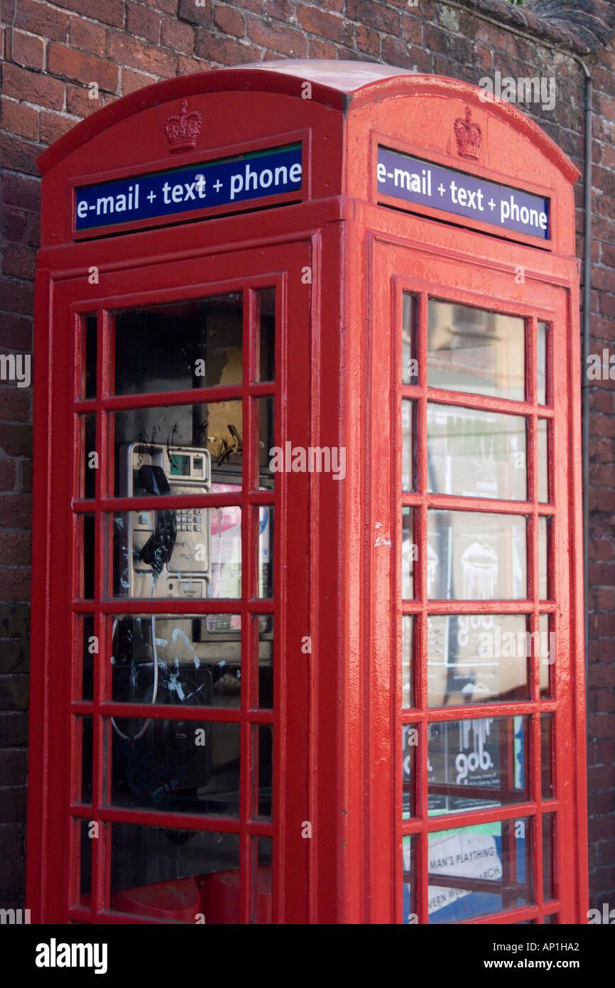 Updated telephone box, Queen Street, Exeter, Devon Stock Photo