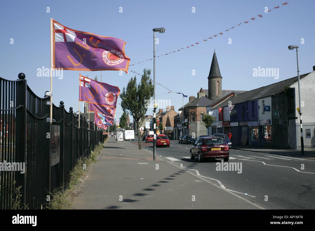 Loyalist UVF flags on the Newtownards Road in Belfast Stock Photo