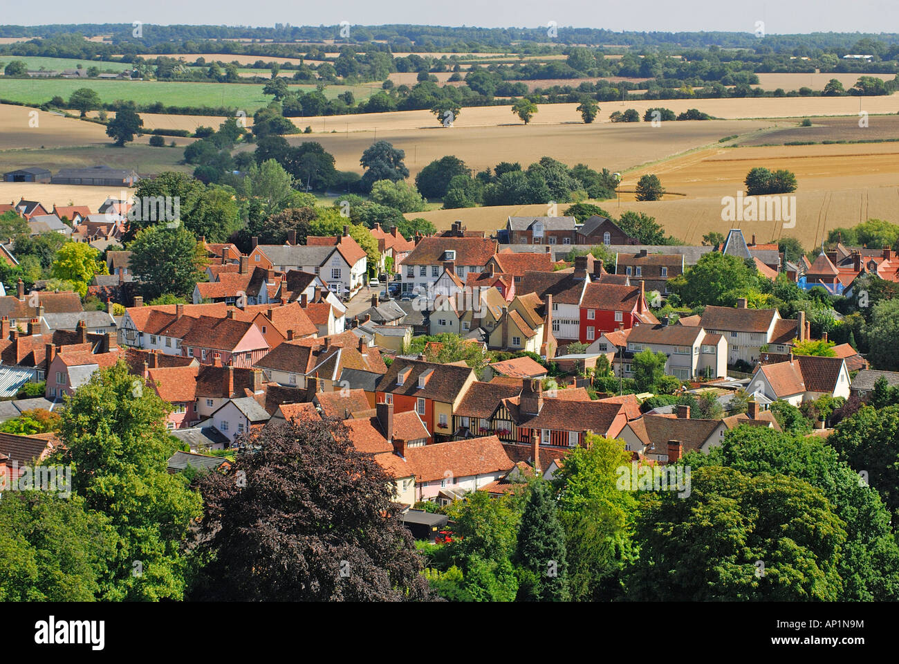 View of Lavenham from top of church, Suffolk, UK - Stock Image