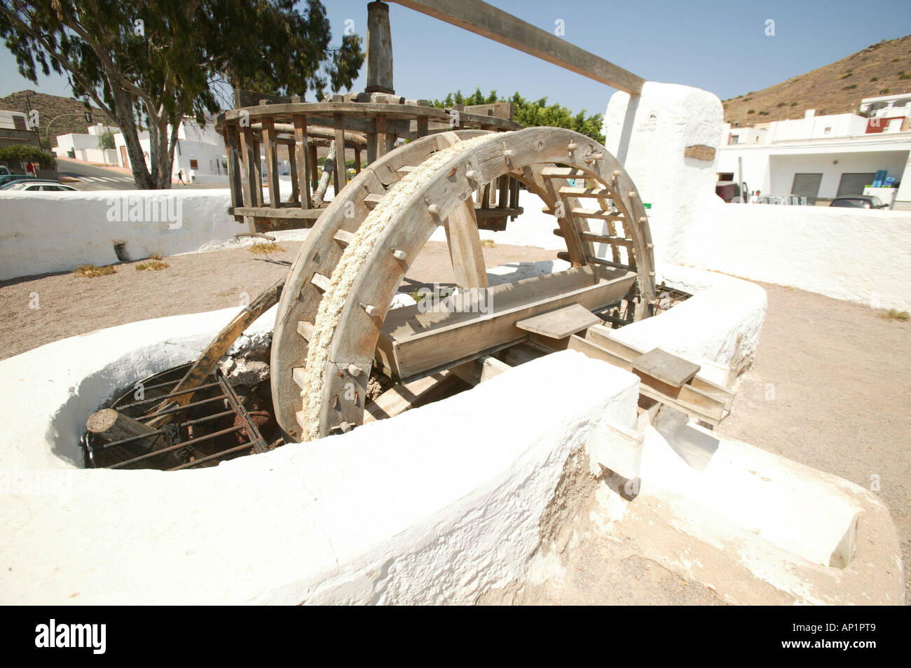 waterwheel in tow of Almería, Andalusia, Spain, house, Spain, Almeria, Europe, colors, white and blue, arquitecture, typical, cu - Stock Image