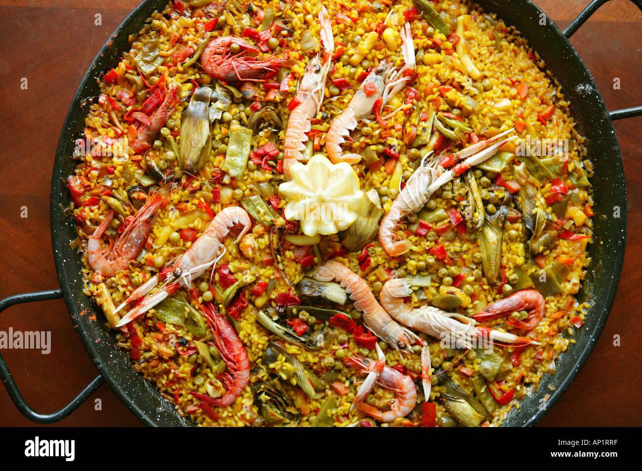 Paella Spain Food Typical Gastronomy Spanish Gastronomy Stock