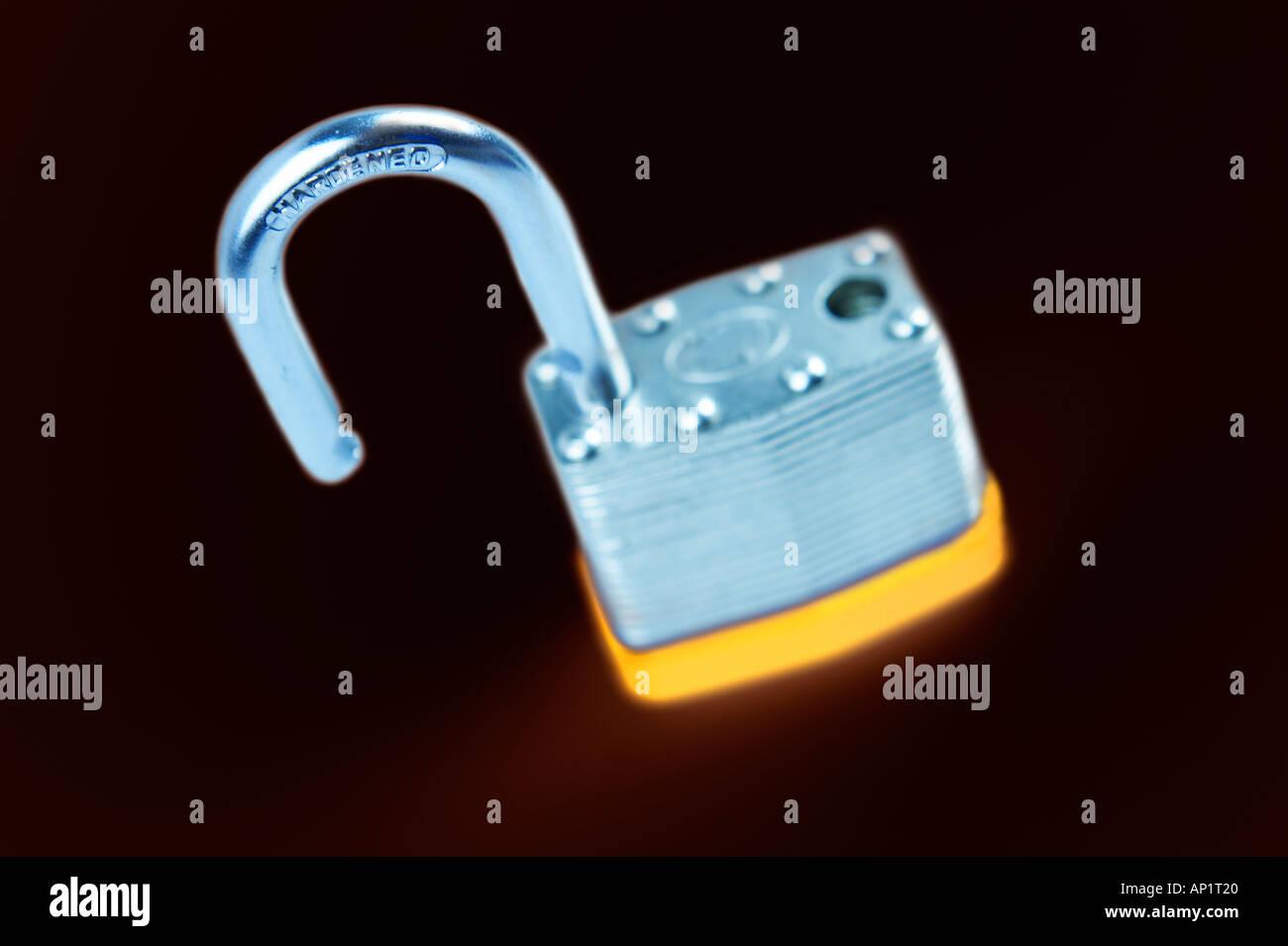 Laminated Padlock Digitally Manipulated - Stock Image