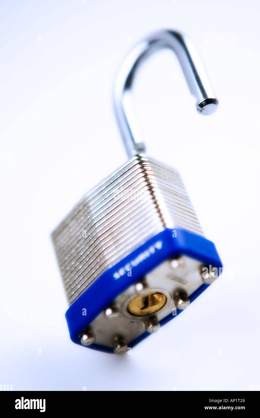Laminated Padlock in cold light - Stock Image