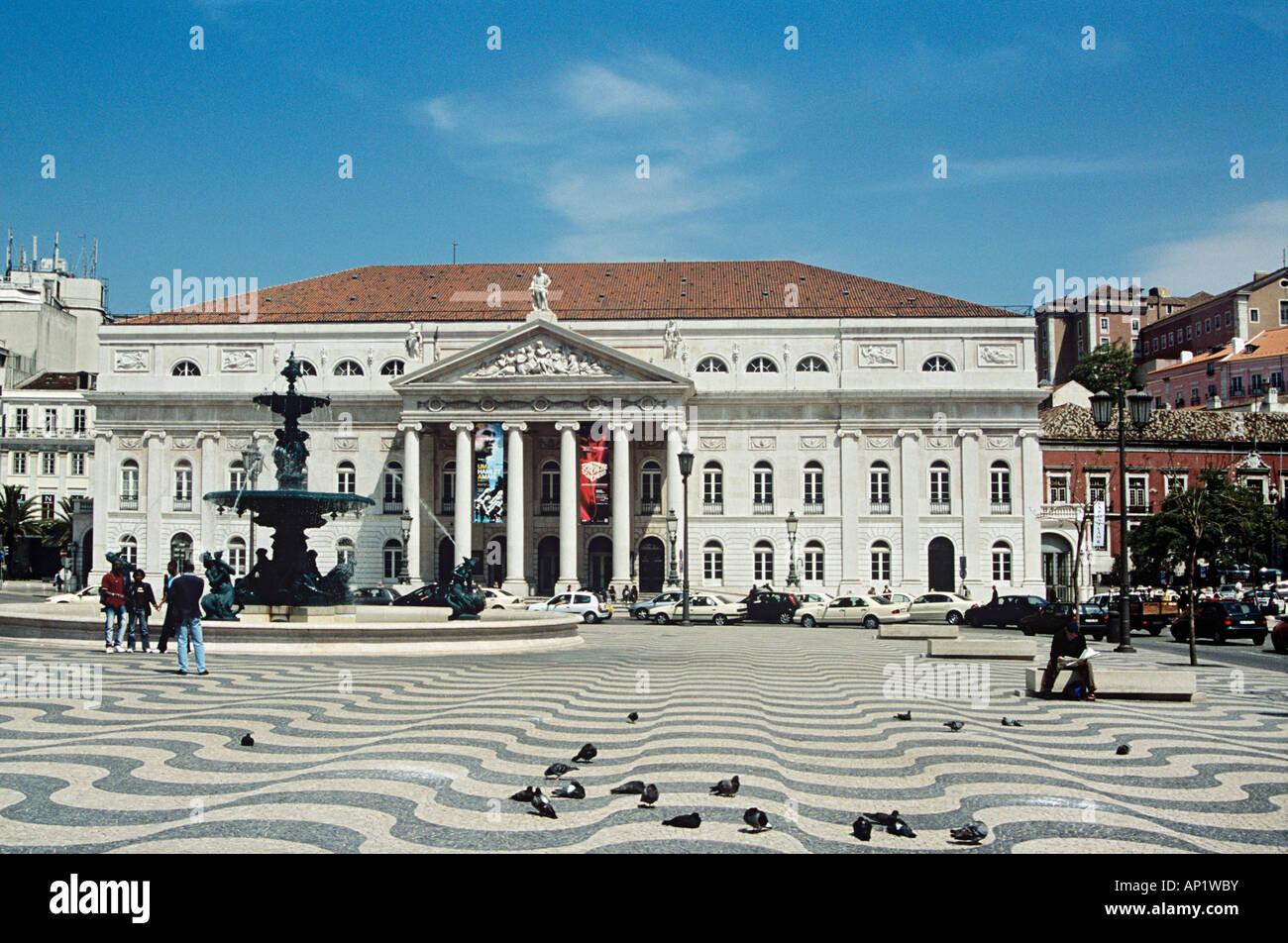 National Theatre, Teatro Nacional De Dona Maria II, Rossio Square, Lisbon, Portugal Stock Photo