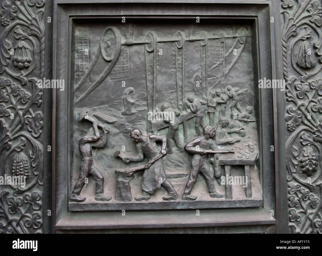 detail bas relief panel on door depicting factory workkers copenhagen stock photo alamy https www alamy com detail bas relief panel on door depicting factory workkers copenhagen image5109524 html