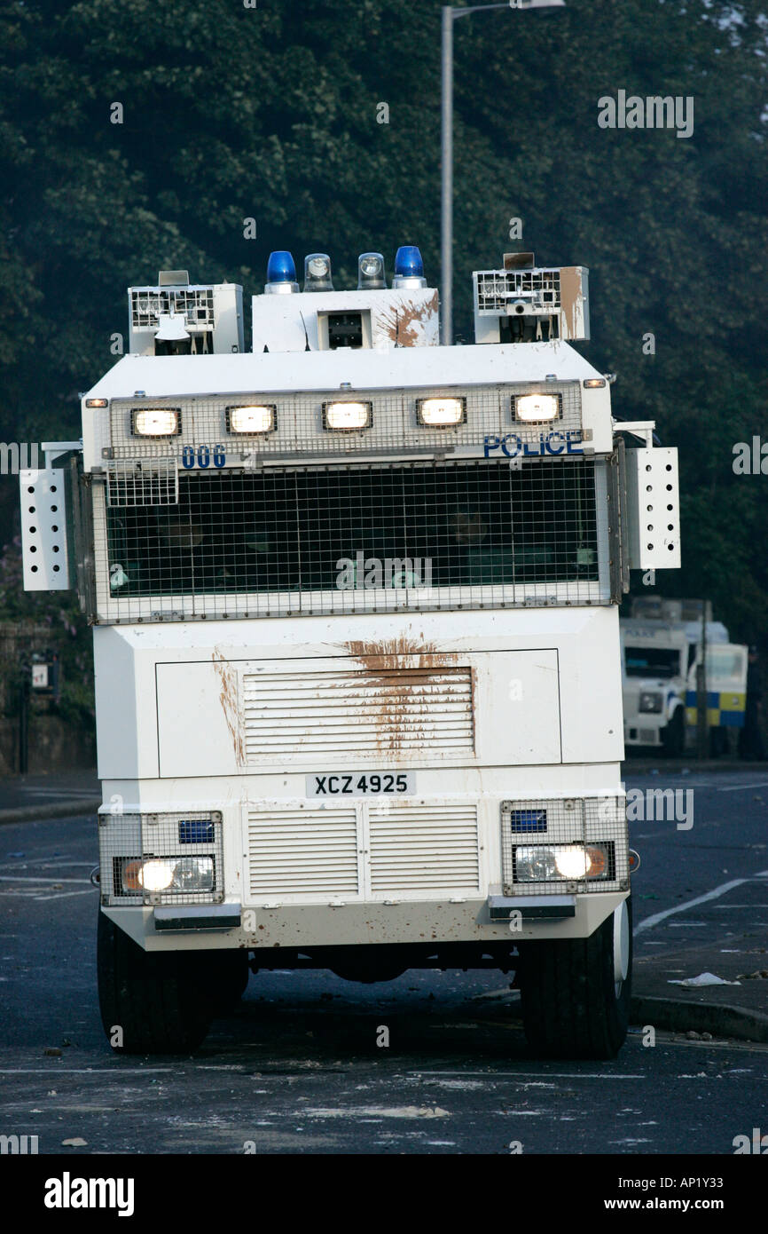 PSNI water cannon on crumlin road at ardoyne shops belfast 12th July - Stock Image