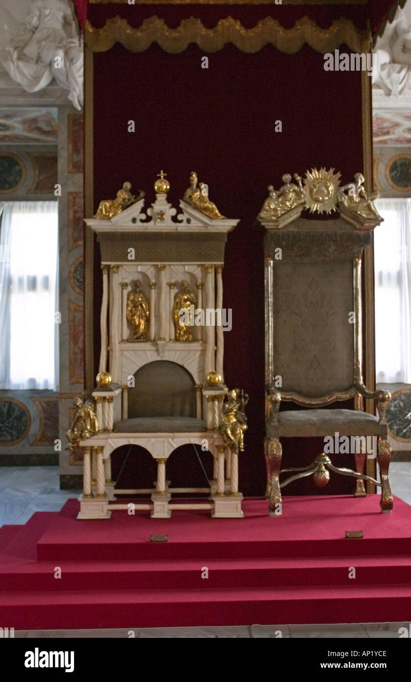 Thrones Rosenborg Castle Copenhagen Denmark - Stock Image