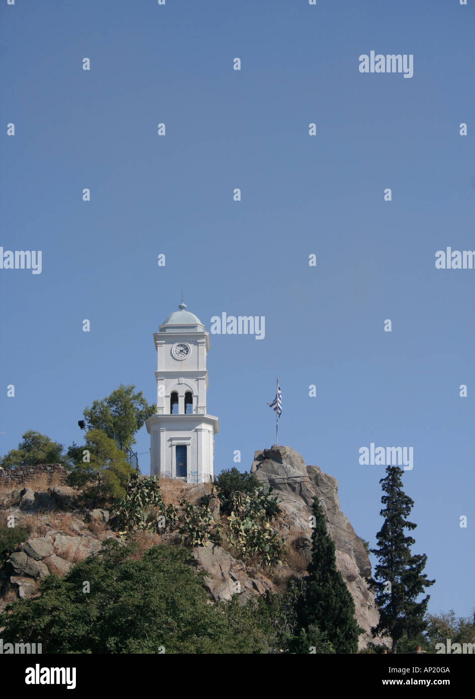 Clock Tower High on the hill on Poros Island - Stock Image